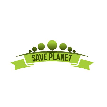Groene ecologie boom opslaan planeet vector pictogram