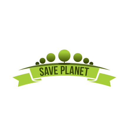 Green ecology tree save planet vector icon