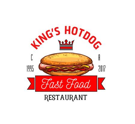 Hot dog restaurant fast food vector icon