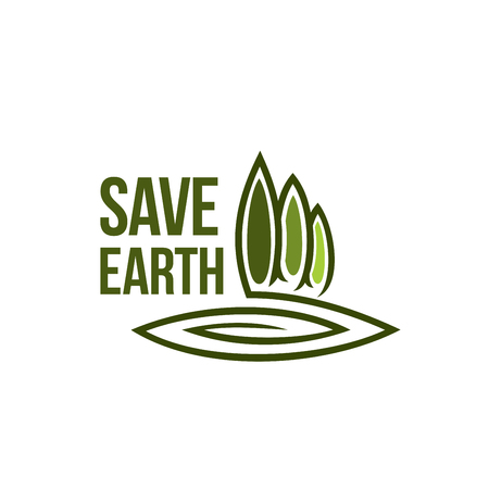 Green earth tree ecology vector environment icon Illustration
