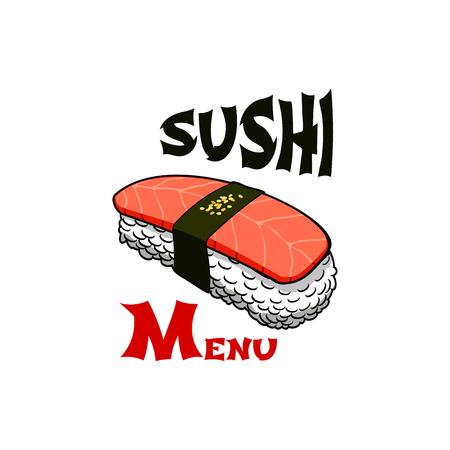 Sushi Japanese bar salmon roll vector icon Illustration