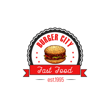 チーズバーガー ハンバーガー ファーストフード カフェ ベクトル アイコン  イラスト・ベクター素材