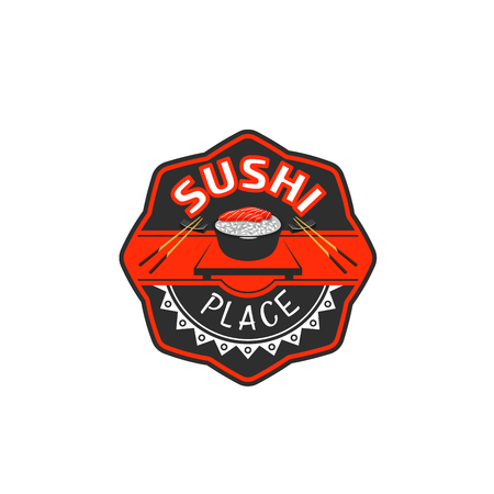 Japanese sushi bar restaurant vector icon