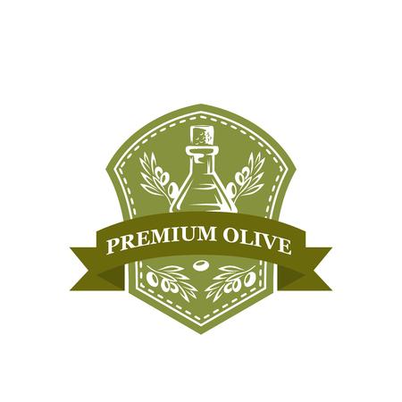 Premium olive oil bottle vector icon of olives