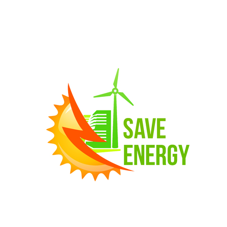 Green solar green energy windmill vector icon