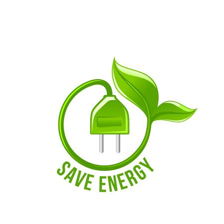 Wtyczka elektryczna z zielonym liściem oszczędzaj energię wektor ikona
