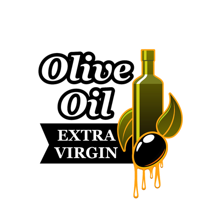 Extra virgin olive oil product label vector icon Çizim