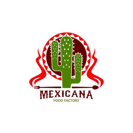 Mexican cuisine restaurant cactus vector icon Illustration