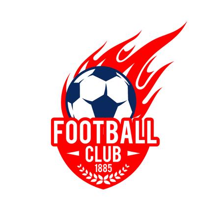 Football soccer club badge vector fire ball icon