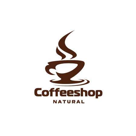 Coffee hot steam cup cafe or shop vector icon Illustration