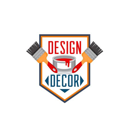 홈 인테리어 페인트 브러시 인테리어 디자인 벡터 아이콘
