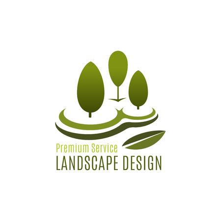 녹색 나무 조경 디자인 원예 벡터 아이콘 일러스트