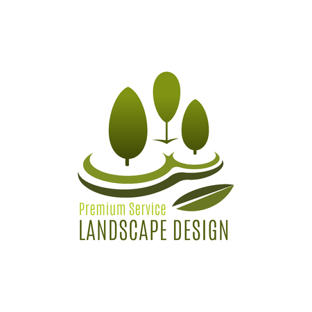 Green tree landscape design gardening vector icon