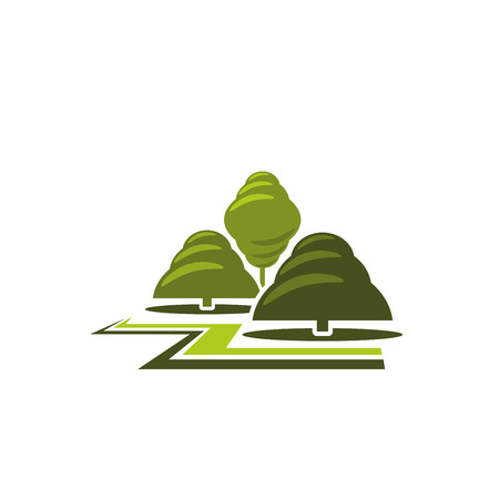Green tree park landscape gardening vector icon