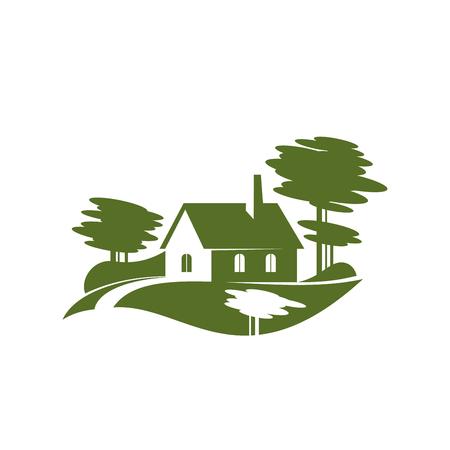 Verde villaggio albero paesaggio giardinaggio icona vettoriale Vettoriali