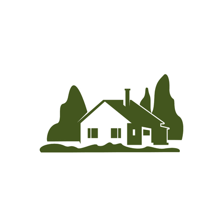 Green villa house garden trees vector icon Illustration