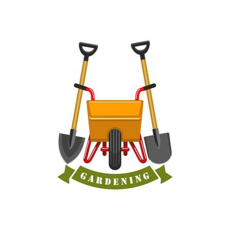 Gardening planting work tools vector icon