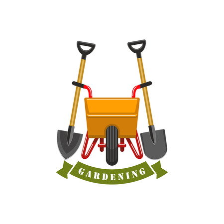 Gardening planting work tools vector icon