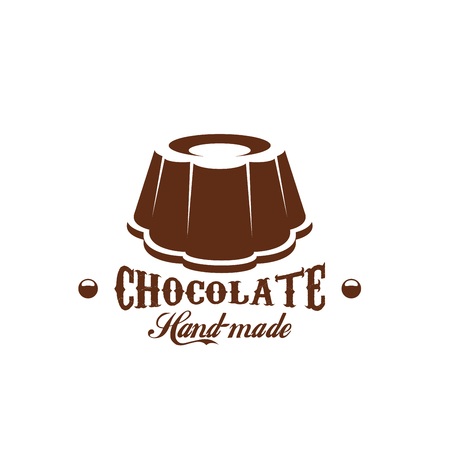 Chocolate cake patisserie candy shop vector icon Illustration