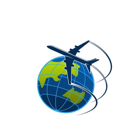 Aereo e globo viaggi o icone vettoriali post express Vettoriali