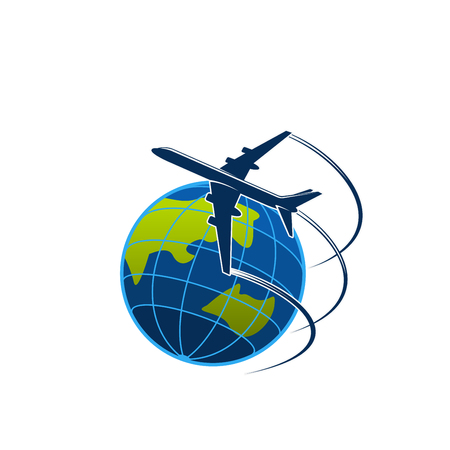 Plane and globe travel or express post vector icon
