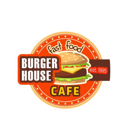 ハンバーガーの家レストラン チーズバーガー ベクトル アイコン  イラスト・ベクター素材