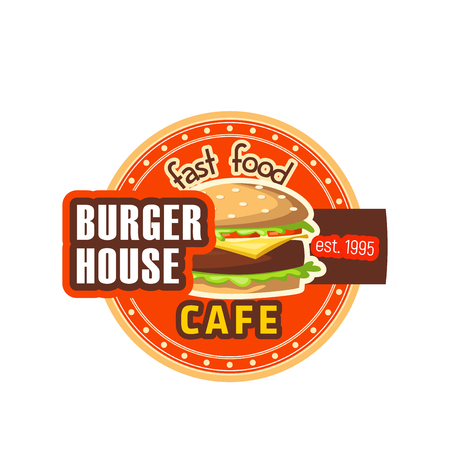 Burger House restaurant cheeseburger vector icon