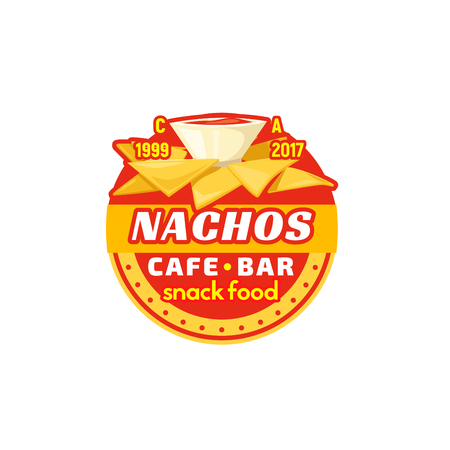 chili sauce: Nachos chips fast food cafe bar vector icon