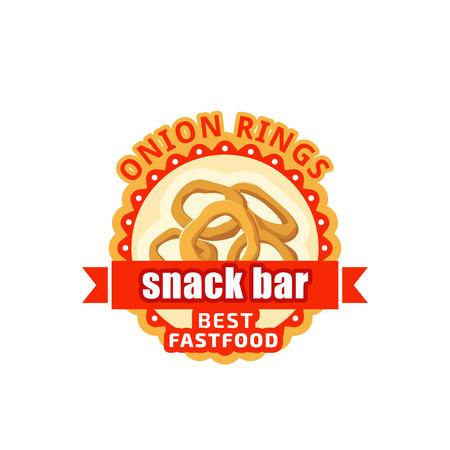 Cebolla, anillos, comida rápida, café, bistro, vector, icono Foto de archivo - 87718115