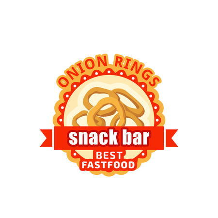 Onion rings fast food cafe bistro vector icon