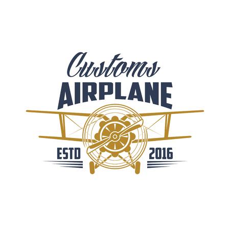 Customs airplane aviation retro vector icon