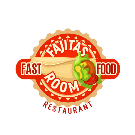 Fajitas Mexican fast food restaurant vector icon
