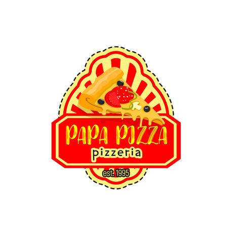Papa pizza pizzeria italian vector icon Illustration