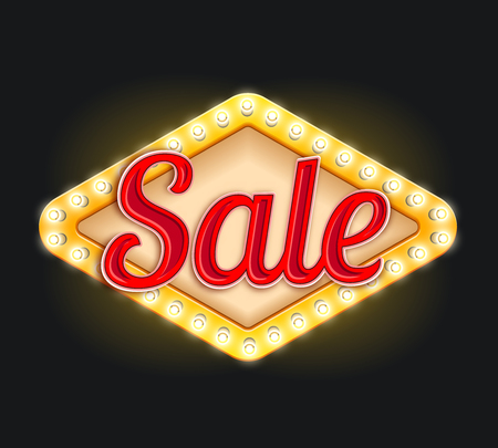 Sale neon light lamp retro signboard vector icon Illustration