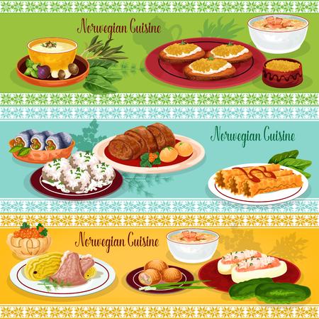 Noorse keuken zeevruchten lunch banner set Stock Illustratie