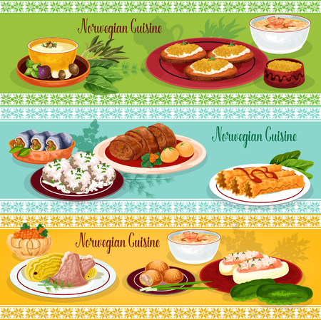Norwegian cuisine seafood lunch banner set Çizim