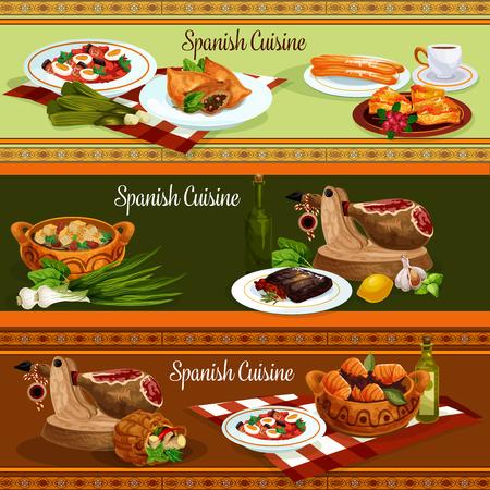 Spanische Küche traditionelle Lebensmittel Banner Standard-Bild - 88065434