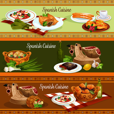 Spanish cuisine traditional food banners