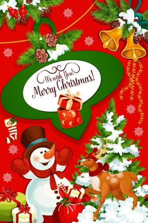 크리스마스 트리, 눈사람, 순록이 크리스마스 카드