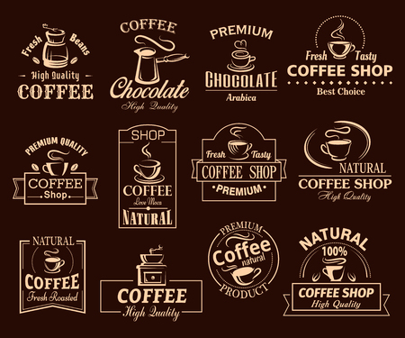 Coffee cup label set for cafe and shop design 向量圖像