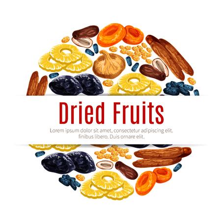 Gedroogd fruit, rozijn, abrikozenetiket voor voedselontwerp