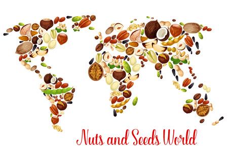 ナッツ、種子、豆、フード デザインの世界地図  イラスト・ベクター素材