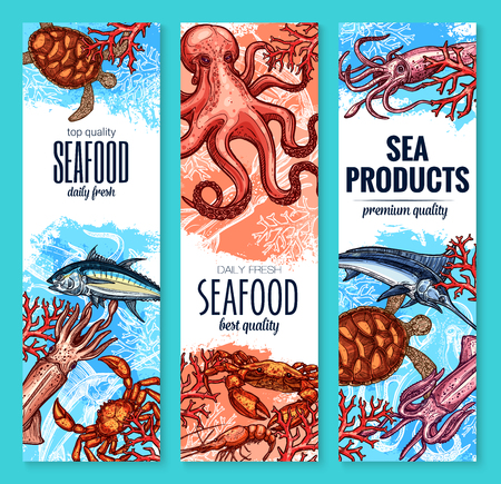 Seafood, fish and sea product sketch banner set Illustration