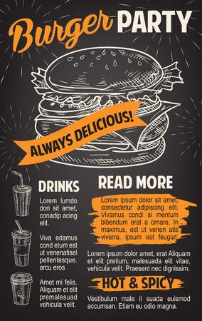 Hamburger poster voor fast food restaurant sjabloon