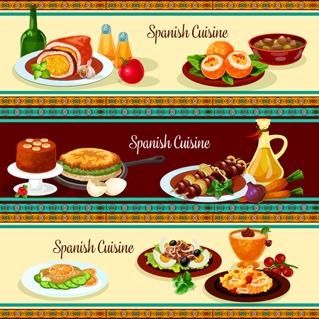 Spanish cuisine dinner restaurant banner set