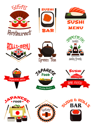 Japanese food emblem set with sushi, seafood rice Illustration