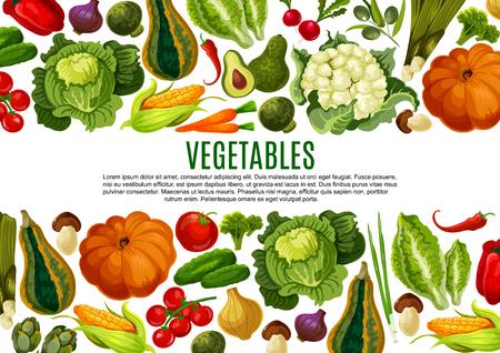 Vegetable and mushroom border banner design 일러스트