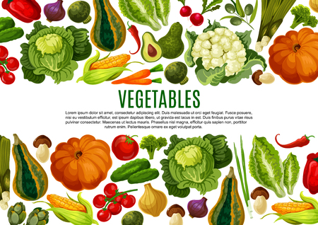 Vegetable and mushroom border banner design Illustration