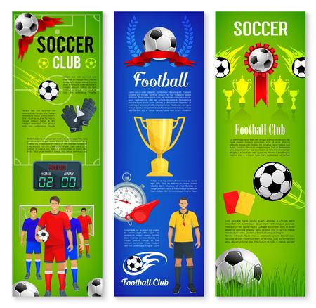 축구 또는 축구 스포츠 게임 배너 템플릿 세트 일러스트