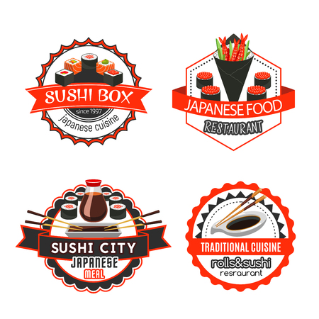 Sushi, japanese food isolated badge set design